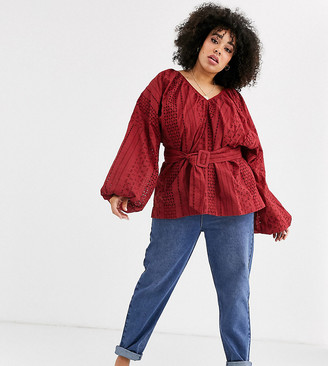 Asos DESIGN Curve broderie kimono sleeve top with belt detail-No Color