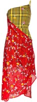 Shuting Qiu floral check print asymmetric dress