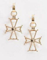 French Fashion House Sinner hoop earrings with oversized cross detail