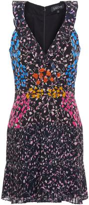 Saloni Amy Ruffled Floral-print Silk-chiffon Mini Dress