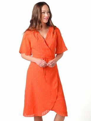 Cupcakes And Cashmere Women's Mulholland Dot Print Chiffon Wrap Midi Dress