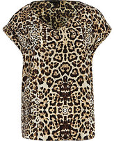 River Island Womens Brown leopard print V neck woven t-shirt