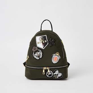 River Island Girls khaki badge embellished backpack