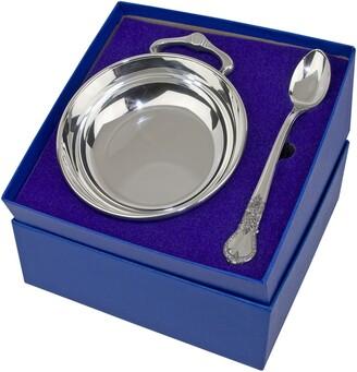 Salisbury Pewter Porringer & Feeding Spoon Set