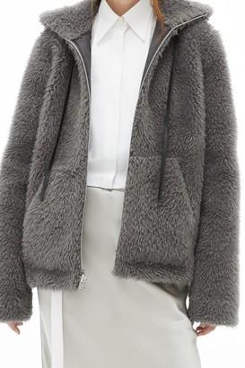 Helmut Lang Shaggy Faux Fur Bomber Jacket
