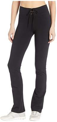 Hard Tail High-Waisted Lace-Up Skinny Flare Pants (Black) Women's Casual Pants