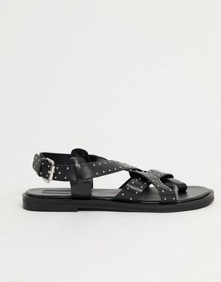 Topshop leather sandal in black