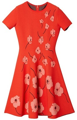 Carolina Herrera Floral Short-Sleeve Knit Fit-&-Flare Dress