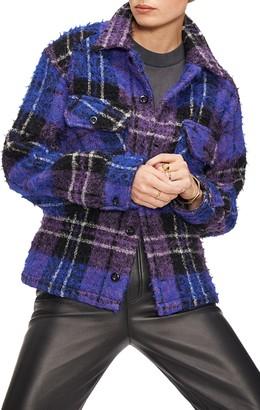 Anine Bing Samone Plaid Wool & Mohair Blend Jacket