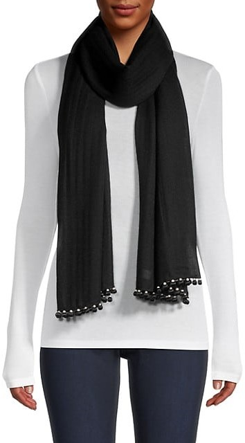 Thumbnail for your product : Janavi Pom-Pom & Pearl-Trim Cashmere Scarf