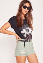 Missguided High Waisted Ripped Denim Shorts Green