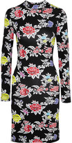 House of Holland Floral-print Stretch-jersey Mini Dress - Black