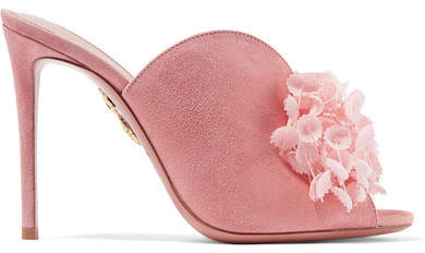 Aquazzura Lily Of The Valley Appliquéd Suede Mules - Baby pink