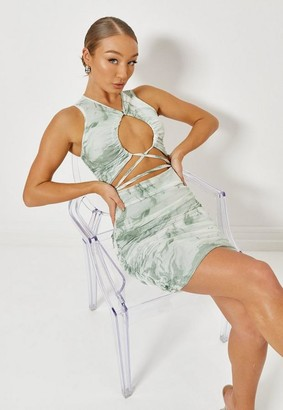 Missguided Green Mesh Ruched Front Cut Out Mini Dress