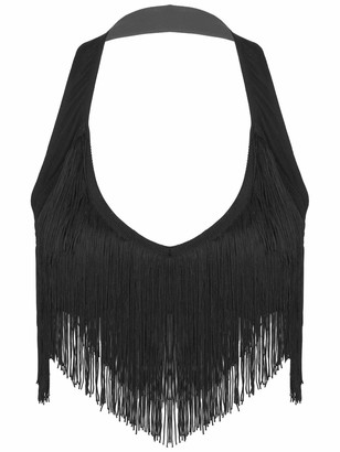 Yeahdor Women's Latin Belly Dance Bra Top Fringe Tassel Halter Neck Festival Club Camis Crop Tops Black S