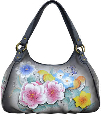Anuschka Anna By Anna by Women's Hobos Vintage - Gray Vintage Garden Ruched Hand-Painted Large Leather Hobo