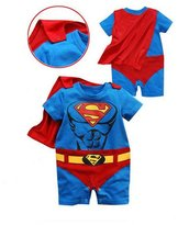 Rush Dance One Piece Super Hero Baby Muscle Superman Superboy Romper Onesie Cape