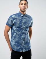 Jack and Jones Originals Short Sleeved Shirt In Floral Print