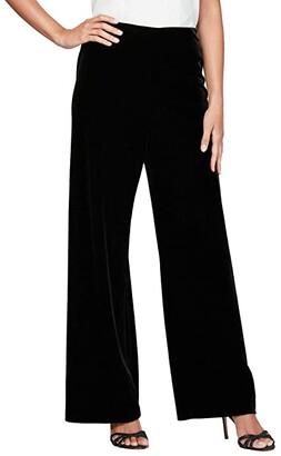 Alex Evenings Basic Velvet Pants (Black) Women's Clothing