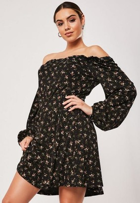 Missguided Petite Black Floral Print Bardot Tea Dress
