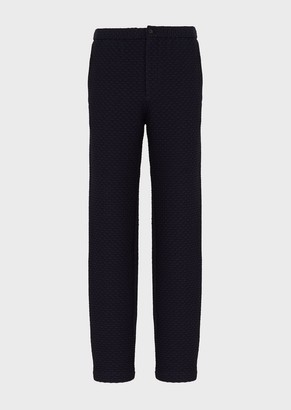 Emporio Armani Trousers In Embossed, Two-Way Stretch Fabric