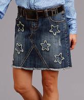 Stetson Women's Denim Skirts BLUE - Blue Stars Raw-Edge Denim Skirt - Women