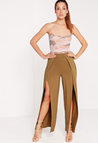 Missguided Split Front Jersey Pants Camel