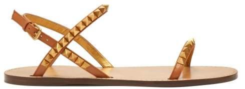 Flat Leather Rockstud Sandals Womens Tan doCeWxrB
