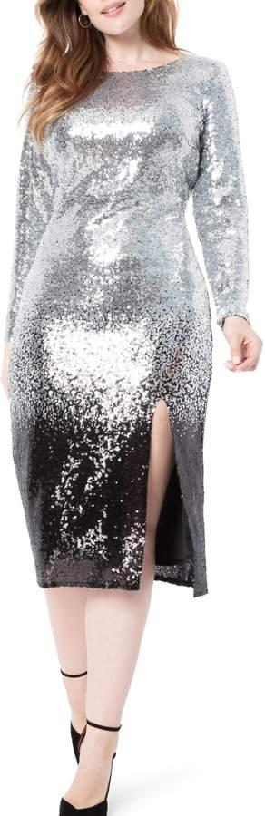 ELOQUII Ombre Sequin Long Sleeve A-Line Dress