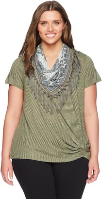 One World ONEWORLD Women's Plus Size Short Sleeve Stripe Knot Top with Scarf Explorer-Soft sage 3X