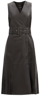 Joseph Dibo Belted Sleeveless Leather Dress - Black