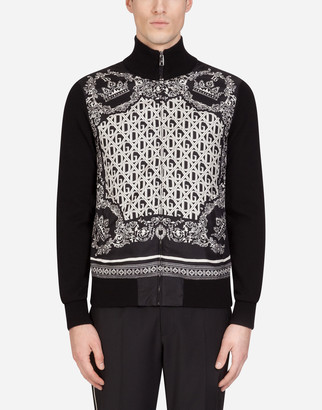Dolce & Gabbana Zip-Up Cashmere Cardigan In Bandana Print