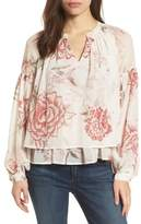 Lucky Brand Floral Print Ruffle Hem Blouse