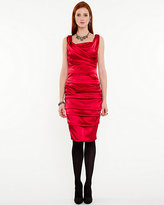 Le Château Satin Ruched Sleeveless Dress