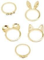 Charlotte Russe Animal Ears & Rhinestone Rings - 5 Pack