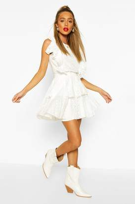 boohoo Broiderie Anglaise Ruffle Layered Skater Skirt