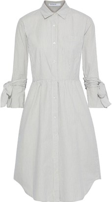 Stateside Bow-detailed Striped Cotton Shirt Dress