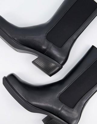 Bershka square toe flat western boot in black