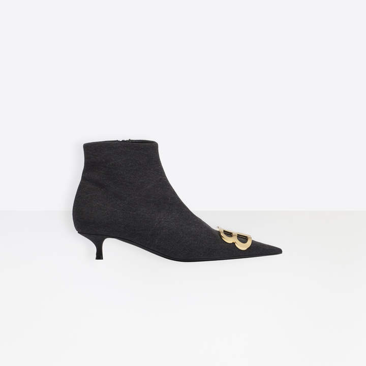 Balenciaga Pointed toe denim booties with kitten heel