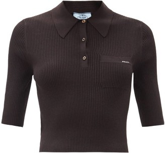 Prada Logo-jacquard Ribbed Wool-blend Polo Top - Dark Brown