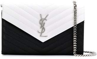 Saint Laurent bicolour monogram chain wallet