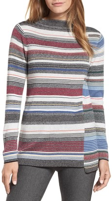 Nic+Zoe Banded Cotton Blend Offset Stripe Sweater (Regular & Petite)