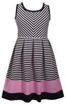 Iris & Ivy Girl's Textured Stripe Pleated Dress