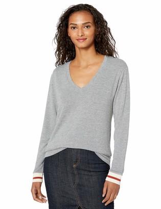 Monrow Women's Dark Heather Supersoft V Neck L/S W/Elastic Cuff Extra Small