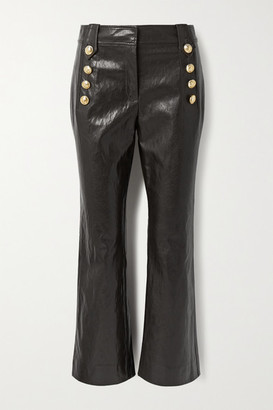 Derek Lam 10 Crosby Corinna Button-embellished Cropped Faux Leather Flared Pants - Chocolate
