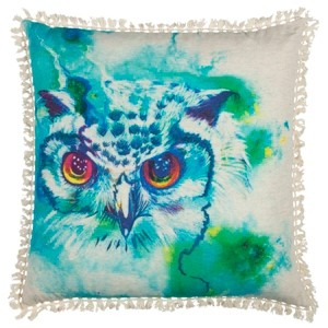"""Rizzy Home Mariah Parris 20"""" x 20"""" Owl Poly Filled Pillow"""