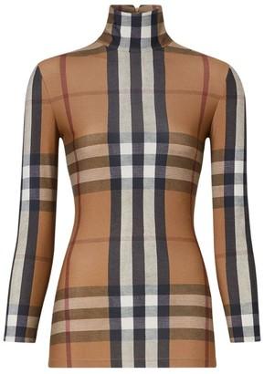Burberry Check Print Turtleneck Top