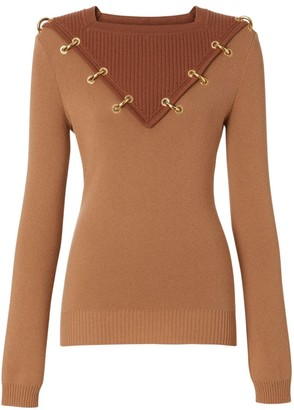 Burberry Wool & Cashmere Goldtone Ring Sweater