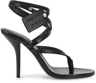 Off-White Zip Tie 100 black leather sandals