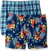 Tommy Bahama Men's 2 Pack Floral and Plaid Woven Boxer Set